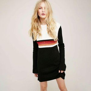 Free People Retro ColorBlock Sweater Dress Black L
